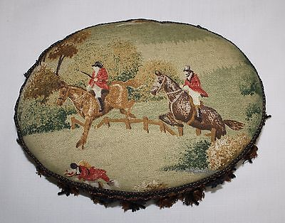 Handsome Vintage English Fox Hunt Horses Riders Hounds Foot Stool A MUST SEE!!!