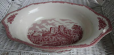 "Johnson Brothers Old Britain Castles Pink Handled 15"" Serving Bowl Green Mk 1883"