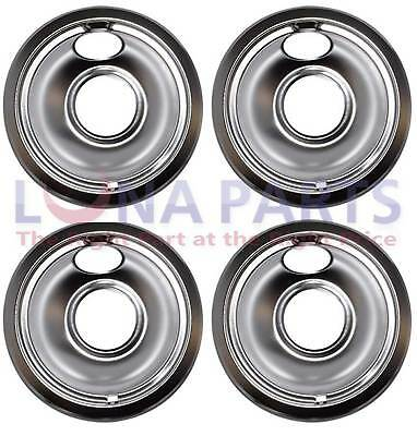 "4 Pack - Whirlpool Maytag Jenn-Air Stove 6"" Chrome Drip Pan Bowl W10196406"