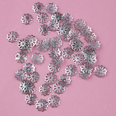 50 pcs 8mm Silver Plated Filigree Flower Beads Cap Ends for DIY Jewelry