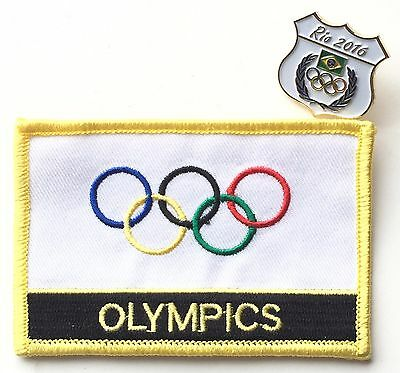 Olympic Games IOC Flag Embroidered Sew or Iron On Patch & Badge Set