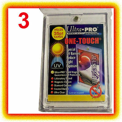 3 Ultra Pro ONE TOUCH MAGNETIC 35pt UV Card Holder Display Case Two Piece Sports