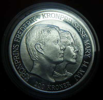 2004 Denmark, 200 Kroner Silver Proof Coin, Princess Mary and Prince Frederik