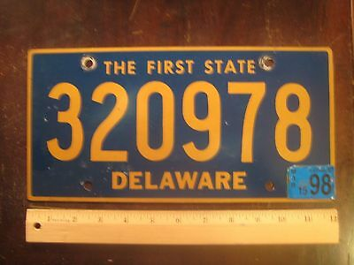 License Plate, Delaware, 1996, Passenger, 320978, Motto: The First State