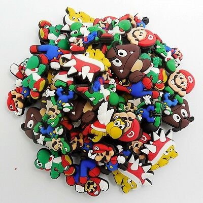 50pcs/Lot Super Mario Bros PVC Shoe Charms/Buckles Fit Croc/Jibbitz/Bracelets
