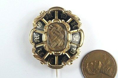 ANTIQUE ENGLISH EARLY VICTORIAN 15K GOLD BLACK ENAMEL MOURNING BROOCH c1840