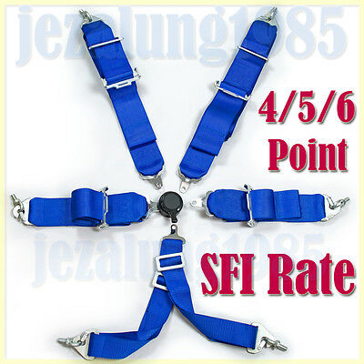 Sports Racing Harness Seat Belt 3 / 4 / 5 / 6 Point Fixing Blue Quick Release