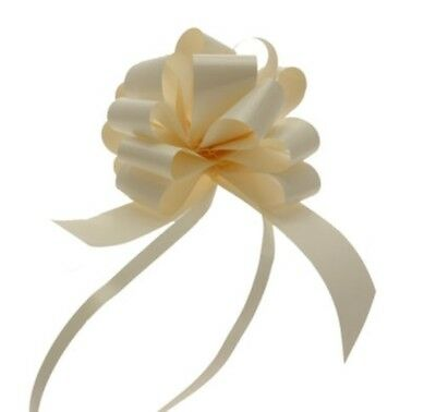 30mm Poly Ribbon Pull Bow- Ivory - Choose Amount Required