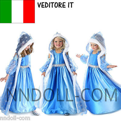 CARNEVALE COSTUME FROZEN dress bambina ELSA VESTITO BIMBA TRAVESTIMENTO new 816