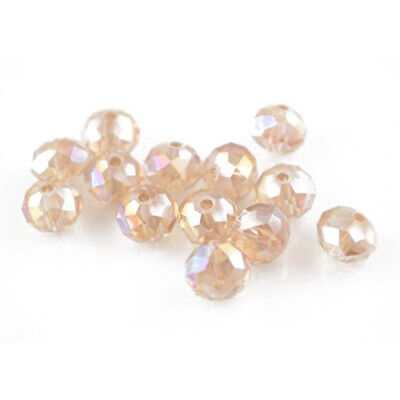 70+ Pale Pink Czech Crystal Glass 6 x 8mm Faceted Rondelle Beads HA20055