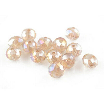 Czech Crystal Glass Faceted Rondelle Beads 6 x 8mm Pale Pink 70+ Pcs Art Hobby
