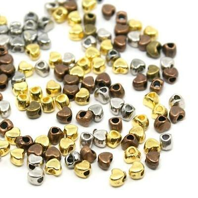Tibetan Heart Spacer Beads 3 x 4mm Mixed 70+ Pcs Art Hobby DIY Jewellery Making
