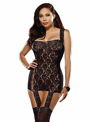 Dreamgirl Women's Lingerie Set in Sheer Black Stretch Lace Garter Dress