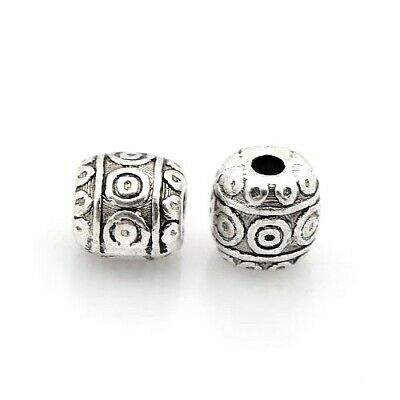 Tibetan Barrel Spacer Beads 6mm Antique Silver 30 Pcs Art Hobby Jewellery Making