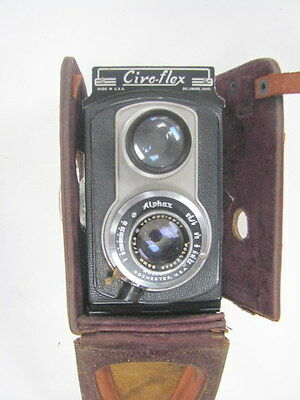 CIRO FLEX TLR Camera w/ WOLLENSAK 85mm F3.5 Lens & Leather Case, Nice Condition