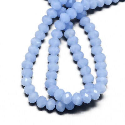 Czech Crystal Opaque Glass Faceted Rondelle Beads 4 x 6mm Pale Blue 95+ Pcs