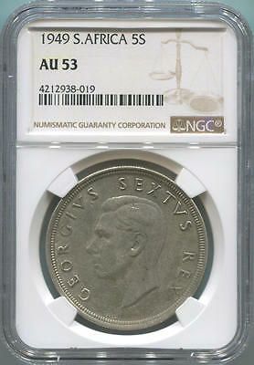 1949 South Africa 5 Shillings. NGC AU53