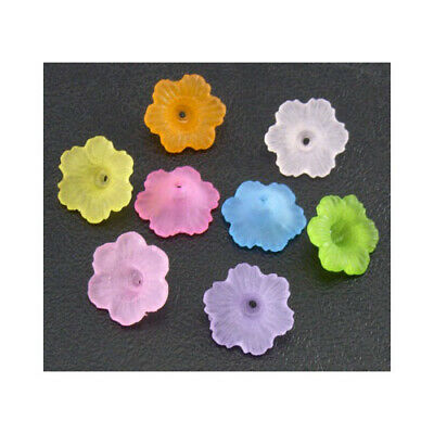 Packet of 100+ Mixed Lucite 4.5 x 11mm Flower Beads HA25505