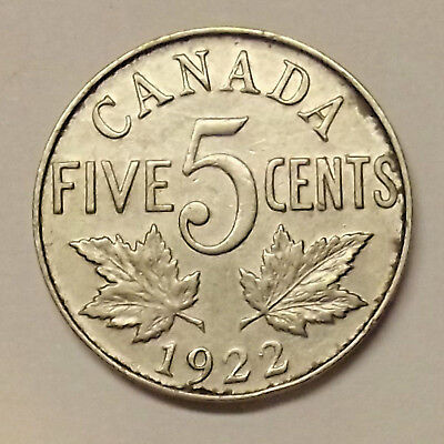1922 Canada Five Cents Coin (Lot #1)