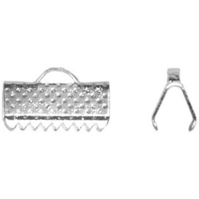 Pack Of 50+ Silver Plated Iron 7 x 10mm Ribbon Ends/Clamps HA02534
