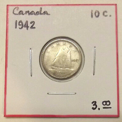 "1942 CANADA ""TEN CENTS"" 10c SILVER COIN (LOT #1)"