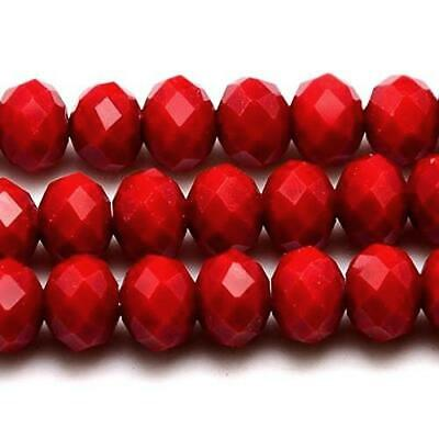 70+ Dark Red Czech Crystal Opaque Glass 6 x 8mm Faceted Rondelle Beads HA20790