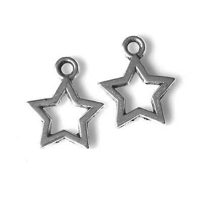 Pack of 100+ Antique Silver Tibetan 10mm Charms (STAR) HA08855