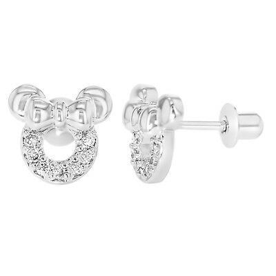 Rhodium Plated Clear CZ Little Mouse Bow Screw Back Girls Kids Earrings