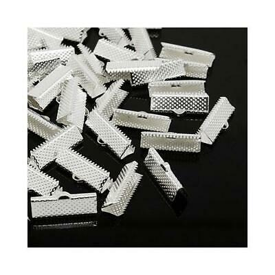 Packet of 50+ Silver Plated Iron 8 x 20mm Ribbon Ends/Clamps HA13085