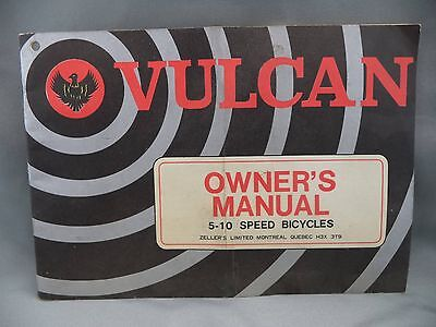 Vintage Vulcan Owner Manual Montreal QC 5-10 Speed Bicycles Bike Zeller's Ltd