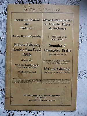 McCormick Deering Double Run Feed Drill Owners Operators Manual 1943
