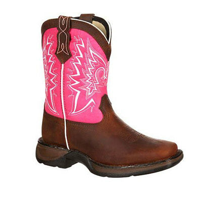 DWBT094 Lil' Durango Adolescent/Youth Let Love Fly Western Boot Brown & Pink NEW