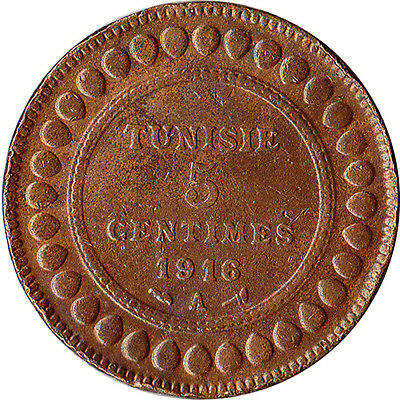 1916 (AH 1334) Tunisia (French) 5 Centimes Coin KM#235