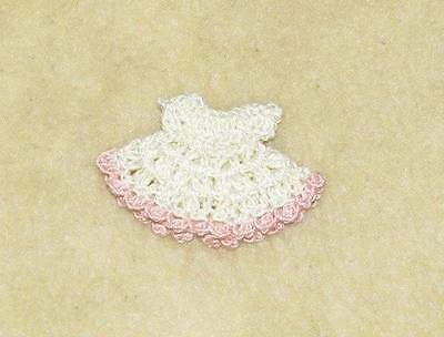 "2 1/2"" OOAK Polymer Clay, Silicone, Bisque Crochet Dress #337"