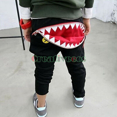 Kids Child Mouth Tooth Zipper Harem Trousers Toddlers Pants Costume 2-7Years New