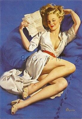 1940s Type Semi Nude Large (4.25 x 6.25) Pinup PC- Gil Elvgren- She's Perfect