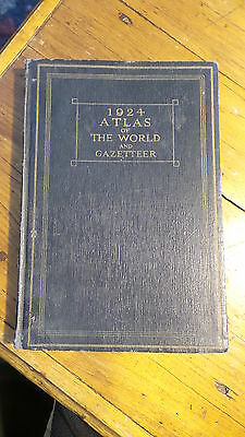1924 ATLAS OF THE WORLD & GAZETEER Maps,Funk & Wagnalls,Stats