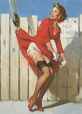 1960s Type Semi Nude Large (4.5 x 6.25) Pinup PC- Gil Elvgren- Unexpected Lift