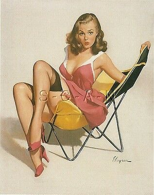 1950s Type Semi Nude Large (4.5 x 6.25) Pinup PC- Gil Elvgren- Low Down Feeling