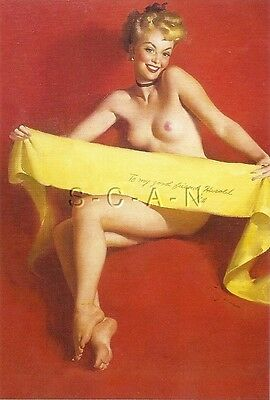 1950s Type Nude Large(4.25 x 6.25) Pinup PC- Gil Elvgren- Blond Wrapped in a Bow