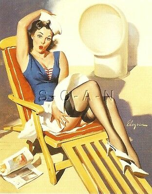 1960s Type Semi Nude Large (4.25 x 6.25) Pinup PC- Gil Elvgren- Skirts Ahoy