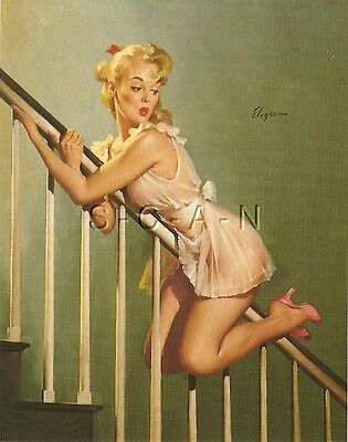 1950s Type Semi Nude Large (4.5 x 6.25) Pinup PC- Gil Elvgren- Look Out Below