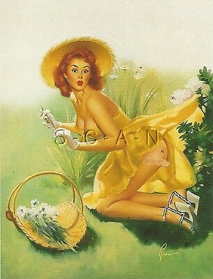 1950s Type Semi Nude Large (4.5 x 6.5) Pinup PC- Edward Runci- Look Out Bee-hind