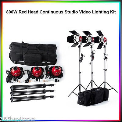 3x Pro 800W Dimmable Red Head Softbox Continuous Studio Video Lighting Stand Kit