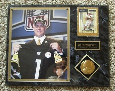 RARE BEN ROETHLISBERGER RC ROOKIE PLAQUE PITTSBURGH STEELERS 12 x 15 INCHES