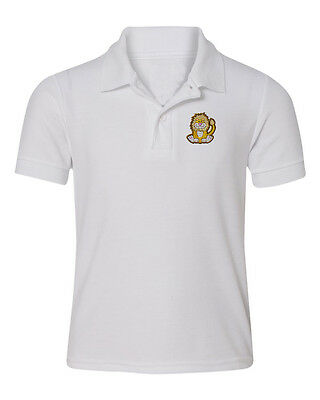 Cute Sitting Lion  Embroidered Kid Children Toddler Infant Polo Shirt 12mo-6T