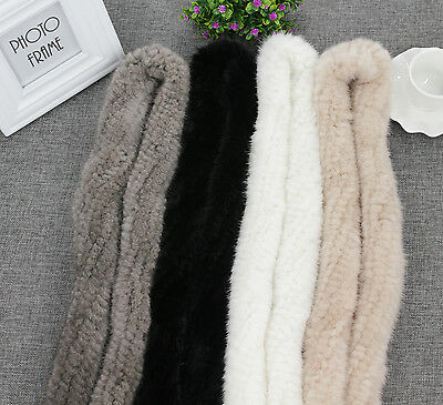 Womens Fashion Genuine Real Mink Fur Hand Knitted Scarfs Scarves Wraps Shawls