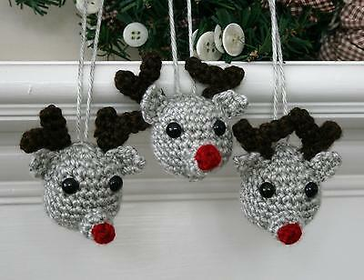 Christmas  Reindeer Holiday Crochet Ornament Kit makes 3