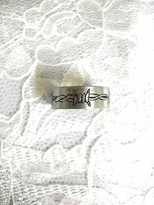 One Of A Kind Hand Engraved Barb Wire / Barbed Wire Stainless Steel Ring Sz 7.5