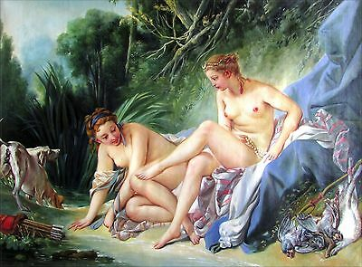 Francois Boucher Diana Bathing Repro, Quality Hand Painted Oil Painting 36x48in